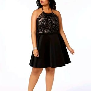 ⭐NWT Morgan&Co Sequined Fit & Flare Halter Dress